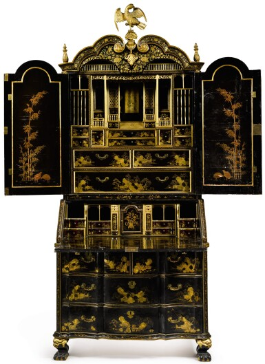 View 2. Thumbnail of Lot 555. A CHINESE EXPORT BLACK AND GOLD LACQUER BUREAU CABINET, CIRCA 1730.