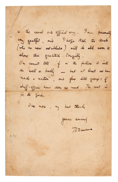 View 1. Thumbnail of Lot 68. T.E. LAWRENCE | autograph letter signed, to Major Littleton, 14 October 1918.