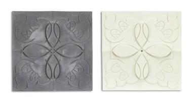 Lot 9081 KAWS | OriginalFake商店牆磚(灰色與白色)(兩件)OriginalFake Store Tiles (Grey & White) (Two Works)