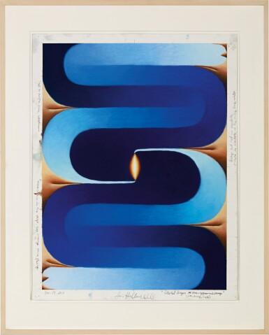 View 2. Thumbnail of Lot 537. Loie Hollowell 洛伊∙霍洛韋爾 | Stacked Lingam (blue, orange, flesh) 堆疊的林伽 (藍,橘,膚色).