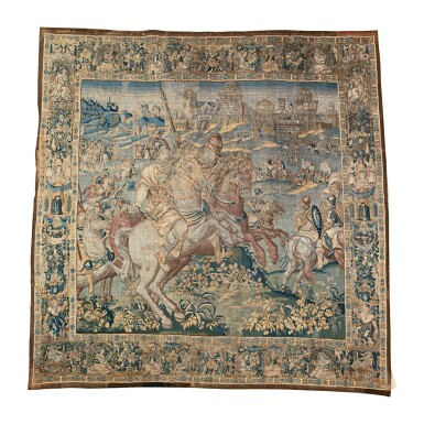 A FLEMISH (OUDENAARDE) HISTORICAL TAPESTRY OF A BATTLE SCENE, FROM THE 'ALEXANDER THE GREAT' SERIES   CIRCA 1580-1600