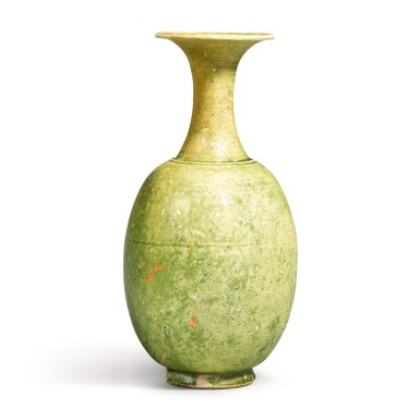 View 1. Thumbnail of Lot 218. A RARE GREEN-GLAZED VASE SUI/TANG DYNASTY   隋/唐 綠釉長頸瓶.