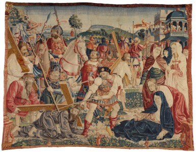 View 1. Thumbnail of Lot 74. THE ROAD TO CALVARY, A RARE FLEMISH NEW TESTAMENT BIBLICAL TAPESTRY FRAGMENT, NETHERLANDS, POSSIBLY TOURNAI, FROM THE SERIES OF THE LIFE OF CHRIST AND THE VIRGIN, DESIGNER UNKNOWN, EARLY 16TH CENTURY, CIRCA 1505-1516.
