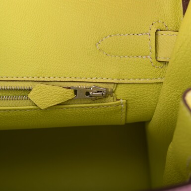 View 9. Thumbnail of Lot 34. HERMÈS | HORSESHOE STAMP (HSS) BICOLOR BUBBLEGUM AND LIME BIRKIN 30CM OF EPSOM LEATHER WITH PALLADIUM HARDWARE.