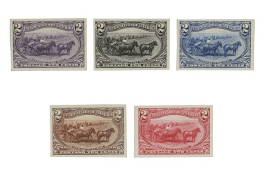 Trans-Mississippi 1898 2c Trial Color Proofs on Card (286TC4 a-e)
