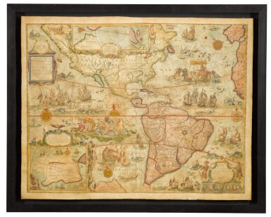 View 4. Thumbnail of Lot 39. Willem Blaeu | A set of four wall maps of the continents, 1673 or later.