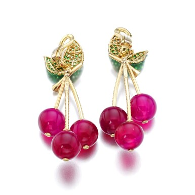 View 3. Thumbnail of Lot 7. MICHELE DELLA VALLE | PAIR OF RED AGATE, TSAVORITE GARNET AND DIAMOND EAR CLIPS, 'CILIEGIE'.
