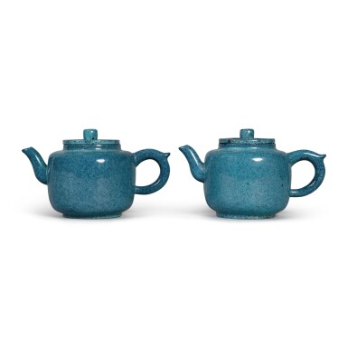 View 2. Thumbnail of Lot 29. A pair of 'robin's egg'-glazed Yixing teapots and covers, Late Qing dynasty.