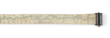 View 3. Thumbnail of Lot 166. COLONEY & FAIRCHILD'S PATENT RIVER MAPS   Ribbon Map of the Father of Waters (Myron Coloney & Sidney B. Fairchild inventors & patentees). St. Louis: lithographed by Gast. Moeller & co., ca. 1866.