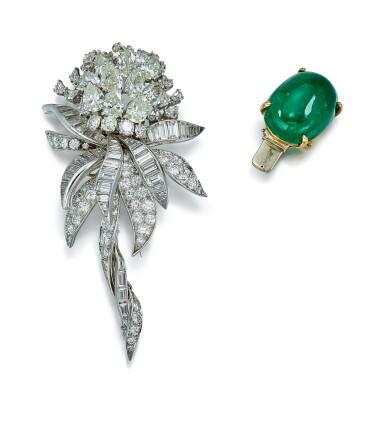 View 1. Thumbnail of Lot 9150. EMERALD AND DIAMOND CLIP BROOCH, DAVID WEBB | 祖母綠 配 鑽石 別針, David Webb.