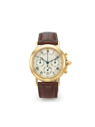 BREGUET | REF 3460 MARINE CHRONOGRAPH, A YELLOW GOLD AUTOMATIC CHRONOGRAPH WRISTWATCH WITH DATE CIRCA 1995