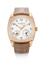 VACHERON CONSTANTIN | HARMONY DUAL TIME, REFERENCE 7805S, A PINK GOLD AND DIAMOND-SET WRISTWATCH WITH DUAL TIME ZONE AND DAY AND NIGHT INDICATION, CIRCA 2018