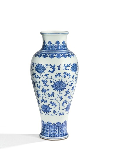 View 2. Thumbnail of Lot 8. RARE GRAND VASE BALUSTRE EN PORCELAINE BLEU BLANC DYNASTIE QING, XVIIIE SIÈCLE | 清十八世紀 青花纏枝蓮紋觀音尊 | A rare large blue and white 'lotus' baluster vase, Qing Dynasty, 18th century .