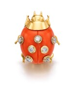 Cartier | Coral and diamond clip, 'COCCINELLE' | 卡地亞 | 珊瑚配鑽石「COCCINELLE」別針