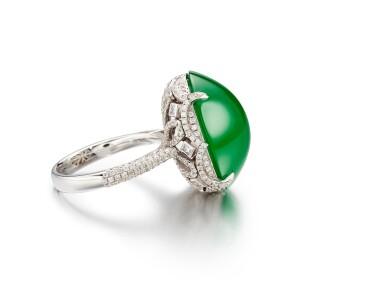 View 2. Thumbnail of Lot 1859. Imperial Green Jadeite and Diamond Ring |  天然「帝王綠」翡翠 配 鑽石 戒指.