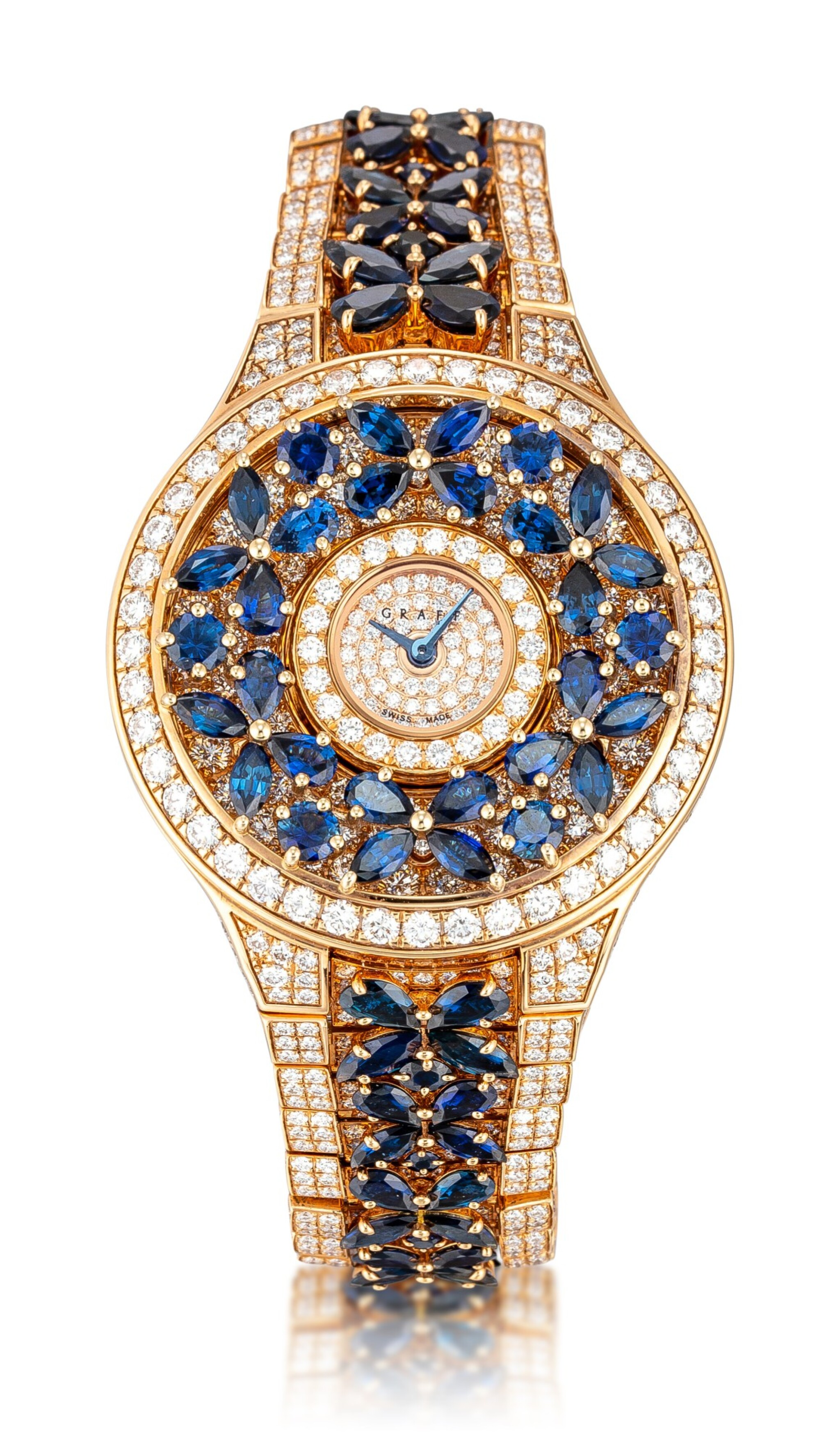 View full screen - View 1 of Lot 1067. 'Butterfly' Reference BF32PGSDSD, 1 Limited Edition Pink Gold, Blue Sapphire and Diamond-Set Wristwatch | 格拉夫| Butterfly編號BF32PGSDSD 1,限量版粉紅金鑲藍寶石及鑽石腕表,約2010年製.