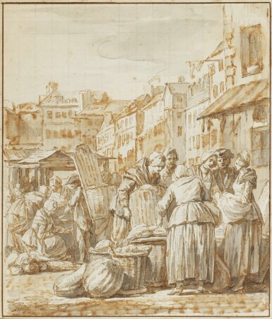 NICOLAS-BERNARD LÉPICIÉ | Women gathered at a street market