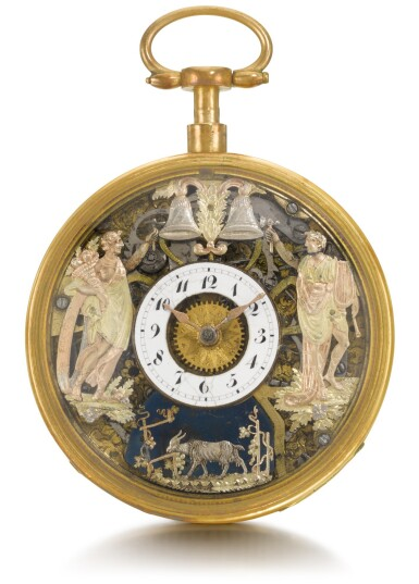 SWISS   A QUARTER REPEATING AUTOMATON WATCH WITH JACQUEMARTS IN LATER GILT-METAL CASE  CIRCA 1800 AND LATER