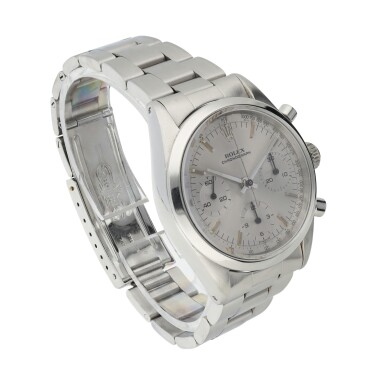 View 2. Thumbnail of Lot 2. ROLEX | REFERENCE 6238 'PRE-DAYTONA'  A STAINLESS STEEL CHRONOGRAPH WRISTWATCH WITH BRACELET, CIRCA 1964.