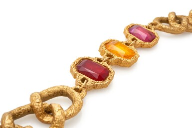 View 3. Thumbnail of Lot 4. RED AND ORANGE GRIPOIX AND GOLD-TONE METAL BELT, CHANEL.