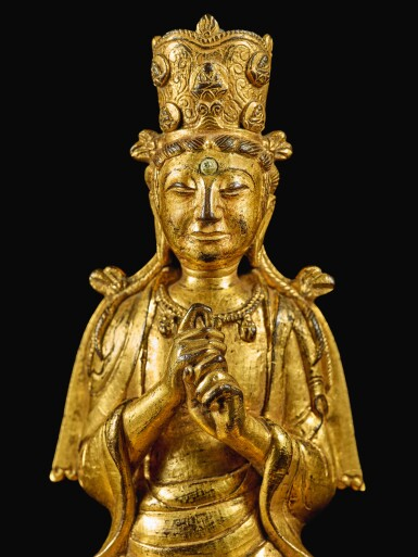 View 7. Thumbnail of Lot 596. A GILT-BRONZE FIGURE OF VAIROCANA,  LIAO DYNASTY.