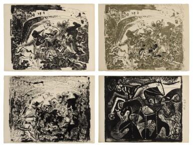 PABLO PICASSO | LA GRANDE CORRIDA; LA GRANDE CORRIDA II; LA GRANDE CORRIDA III; AND CORRIDA. LE PICADOR (B. 598-599; M. 168-170 & 172)