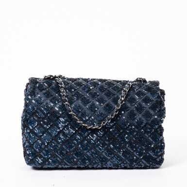 View 2. Thumbnail of Lot 41. Dark Blue and Black Classic Single Flap in Quilted Leather and Sequins with Ruthenium Hardware, 2012-2013.