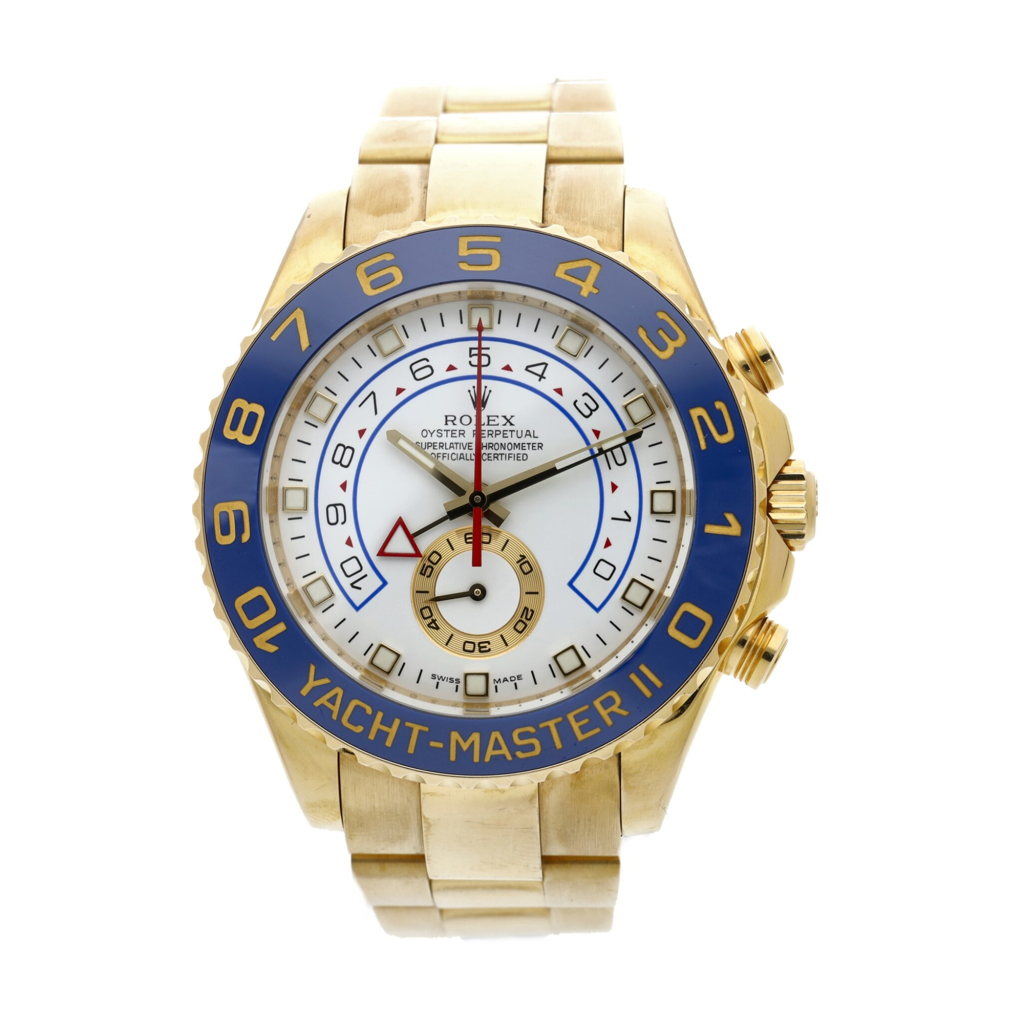 View full screen - View 1 of Lot 8. Reference 116688 Yacht-Master II A yellow gold automatic regatta chronograph wristwatch with bracelet, Circa 2008 .