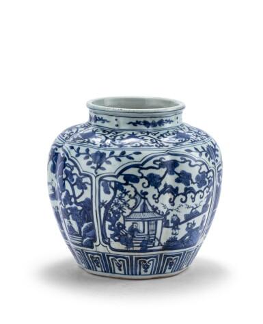 View 1. Thumbnail of Lot 188. Vase en porcelaine bleu blanc Marque et époque Jiajing | 明嘉靖 青花開光人物故事圖罐   《大明嘉靖年製》款 | A blue and white jar, mark and period of Jiajing .