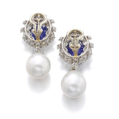View 3. Thumbnail of Lot 98. PAIR OF SAPPHIRE, CULTURED PEARL AND DIAMOND EARRINGS.