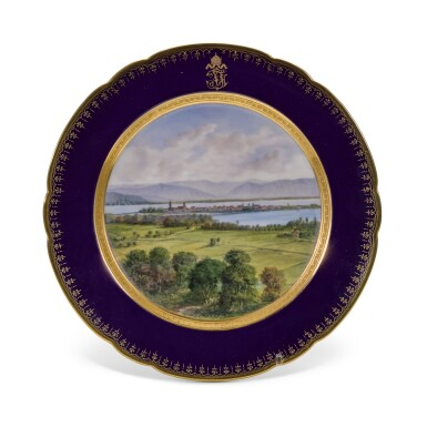 View 16. Thumbnail of Lot 106. An Imperial presentation set of twelve Hutschenreuther porcelain plates, circa 1890.
