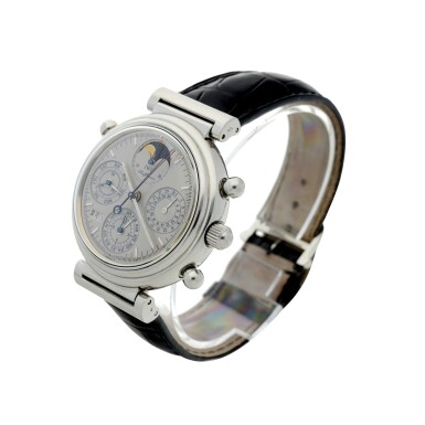 View 2. Thumbnail of Lot 236. REFERENCE 3751 DA VINCI PERPETUAL RATTRAPANTE A LIMITED EDITION PLATINUM AUTOMATIC PERPETUAL CALENDAR SPLIT SECONDS CHRONOGRAPH WRISTWATCH WITH MOON PHASES AND YEAR DISPLAY, CIRCA 1998.