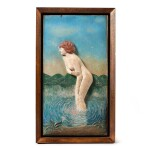 CARVED AND PAINTED WOOD RELIEF OF A NUDE IN WATER, CIRCA 1925