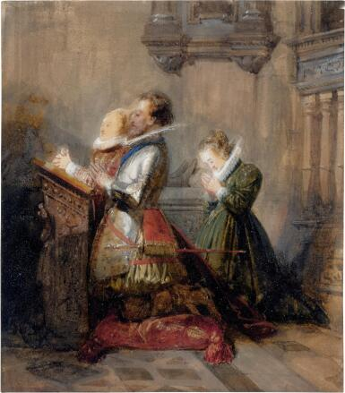 View 1. Thumbnail of Lot 42. Henry IV praying, accompanied by two ladies (La Prière).