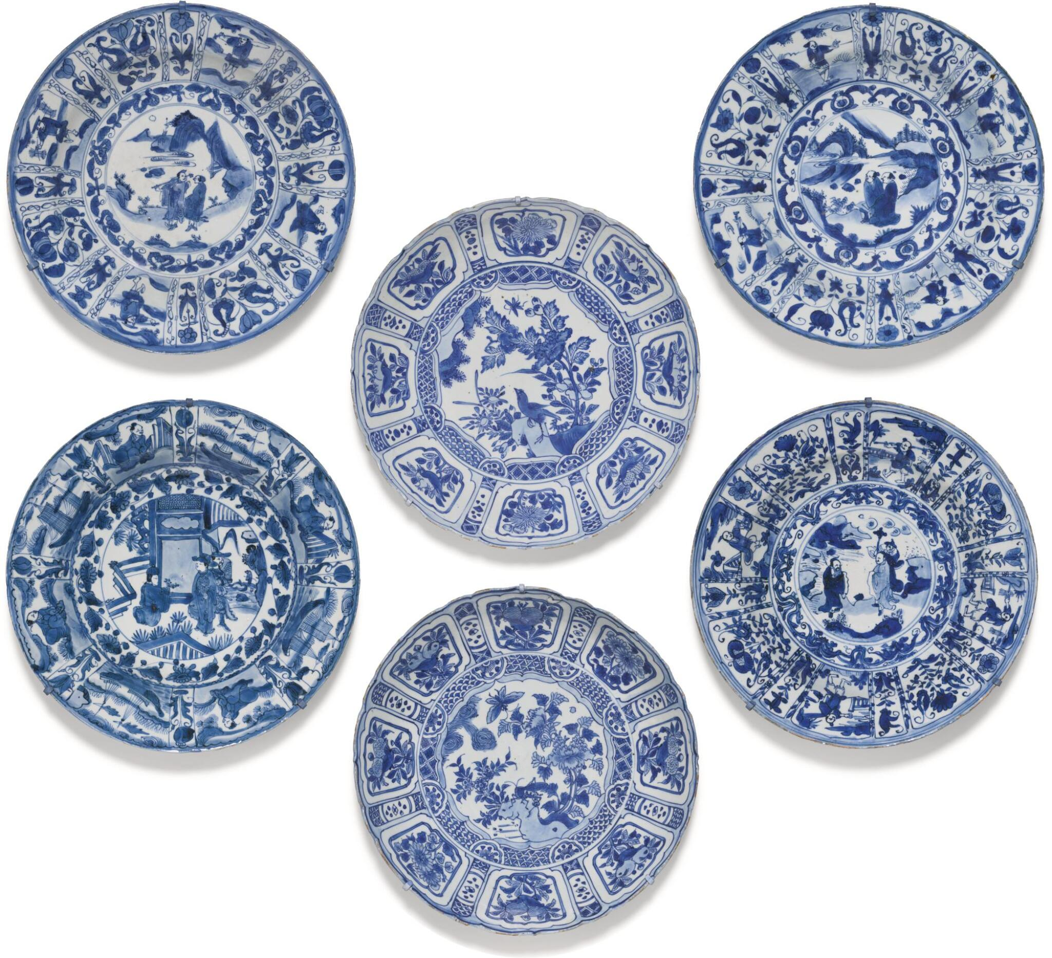 View full screen - View 1 of Lot 9. A SET OF SIX BLUE AND WHITE 'KRAAK' DISHES MING DYNASTY, WANLI PERIOD.