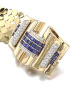 TRABERT & HOEFFER MAUBOUSSIN | GOLD AND SAPPHIRE AND DIAMOND BRACELET, CIRCA 1940