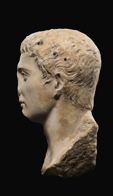 View 4. Thumbnail of Lot 40. A ROMAN MARBLE PORTRAIT HEAD OF A YOUTH, JULIO-CLAUDIAN, EARLY 1ST CENTURY A.D..