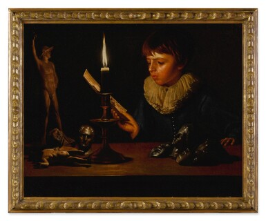 View 2. Thumbnail of Lot 536. Boy behind a table with statuettes reading by candlelight.