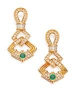 PAIR OF GOLD, EMERALD AND DIAMOND EARRINGS, CHAUMET, FRANCE