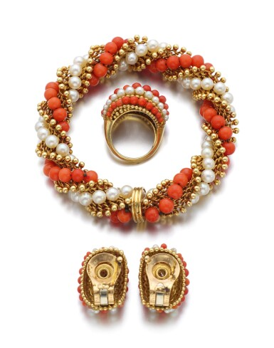 CORAL AND CULTURED PEARL PARURE, 'TWIST' | VAN CLEEF & ARPELS