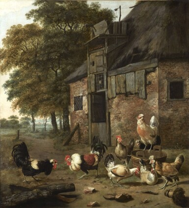 View 1. Thumbnail of Lot 268. DIRCK WIJNTRACK | POULTRY YARD WITH TWO COCKS FIGHTING.