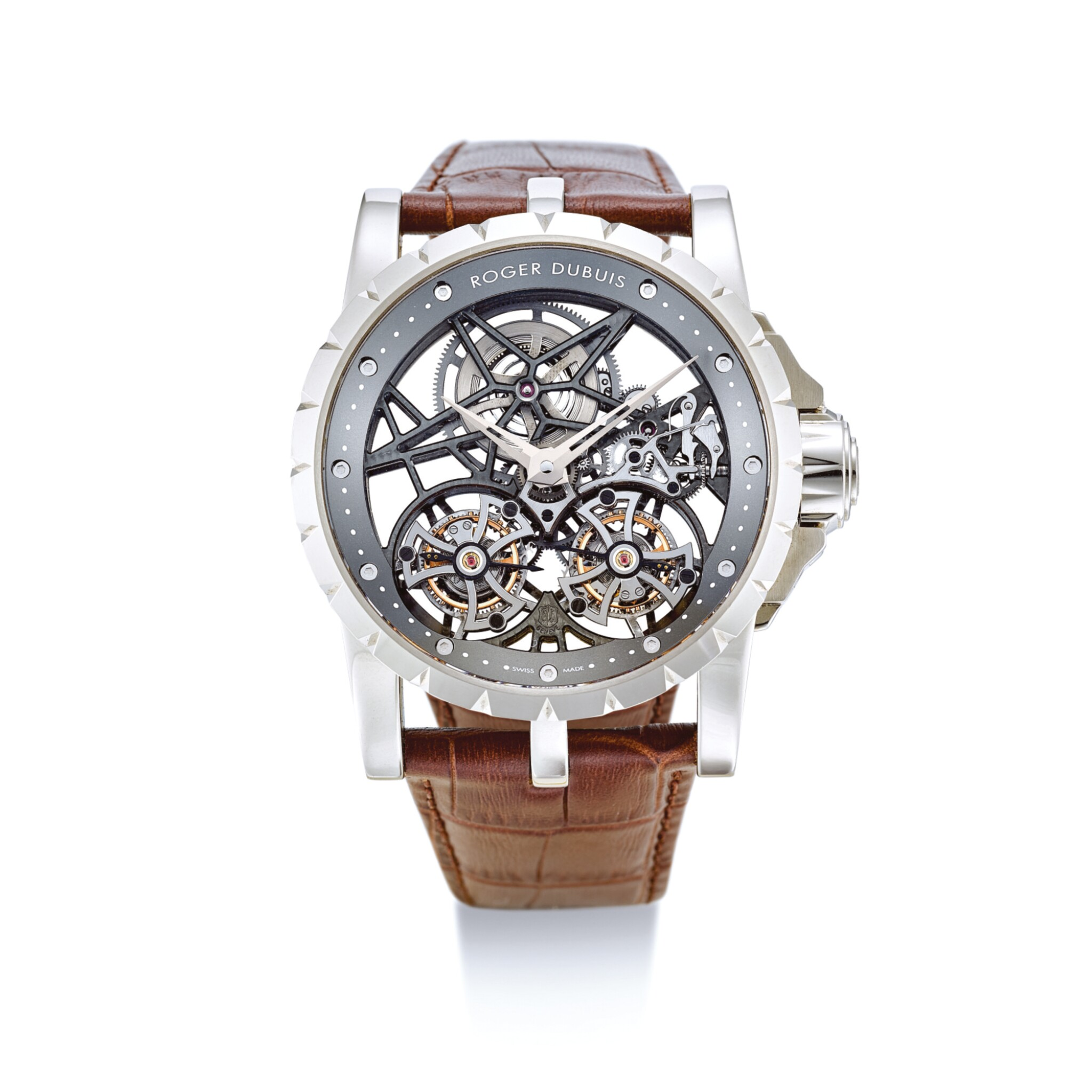 """View full screen - View 1 of Lot 2021. ROGER DUBUIS     EXCALIBUR, REFERENCE RDDBEX0396  A LIMITED EDITION WHITE GOLD DOUBLE FLYING TOURBILLON SKELETONISED WRISTWATCH, CIRCA 2015   羅杰杜彼    """"Excalibur 型號RDDBEX0396  限量版白金雙重飛行陀飛輪鏤空腕錶,錶殼編號85780及57/88,約2015年製""""."""