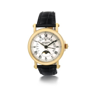 PATEK PHILIPPE  |  REFERENCE 5059   A YELLOW GOLD PERPETUAL CALENDAR WRISTWATCH WITH RETROGRADE DATE, CIRCA 2006