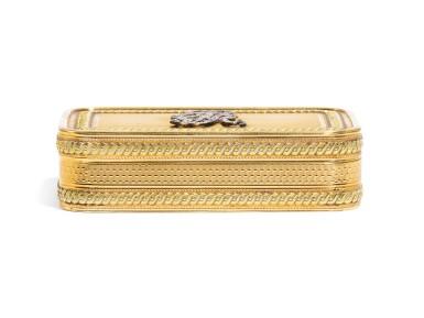 View 2. Thumbnail of Lot 306. A two-colour gold royal presentation snuff box, English, circa 1810.