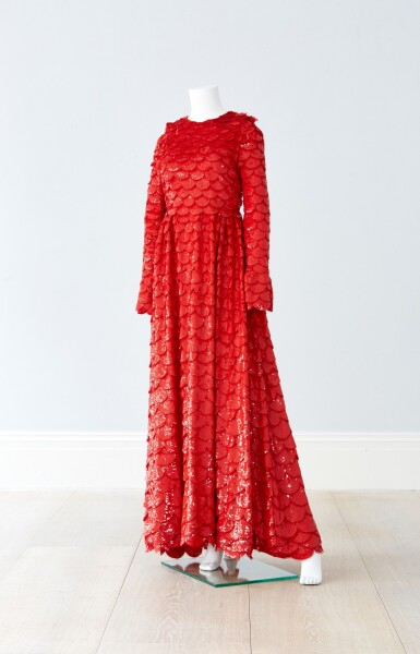 View 5. Thumbnail of Lot 34. Red Tulle Illusion Dress à merlons, Worn by Jane Fonda at the 2020 Screen Actors Guild Awards, Pre-Autumn 2019 Collection.