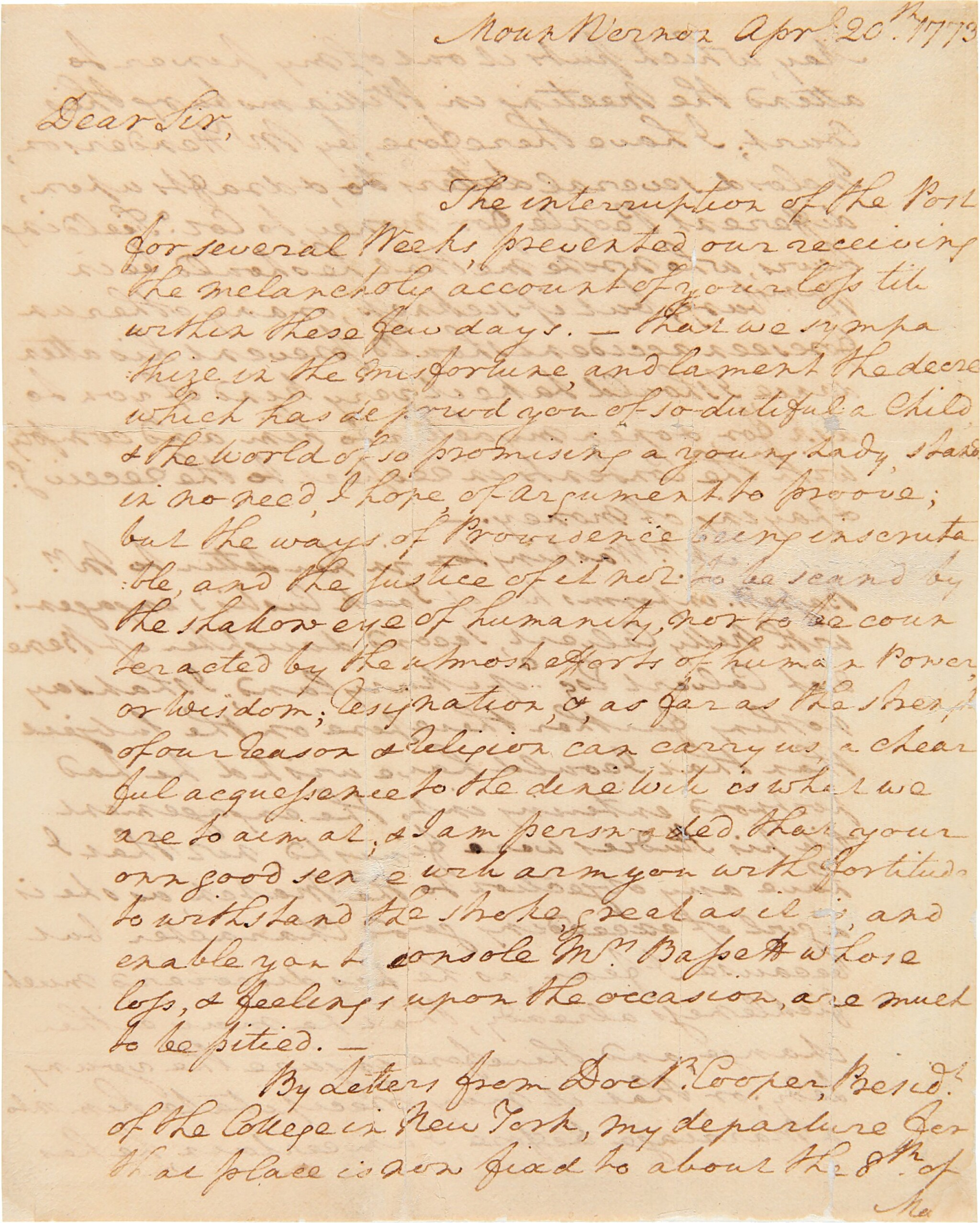 View full screen - View 1 of Lot 267. Washington, George   A long and personal letter from Washington at Mt. Vernon.
