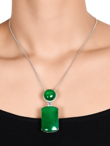 View 3. Thumbnail of Lot 1725. Jadeite and Diamond Pendent Necklace | 天然翡翠 配 鑽石 項鏈.