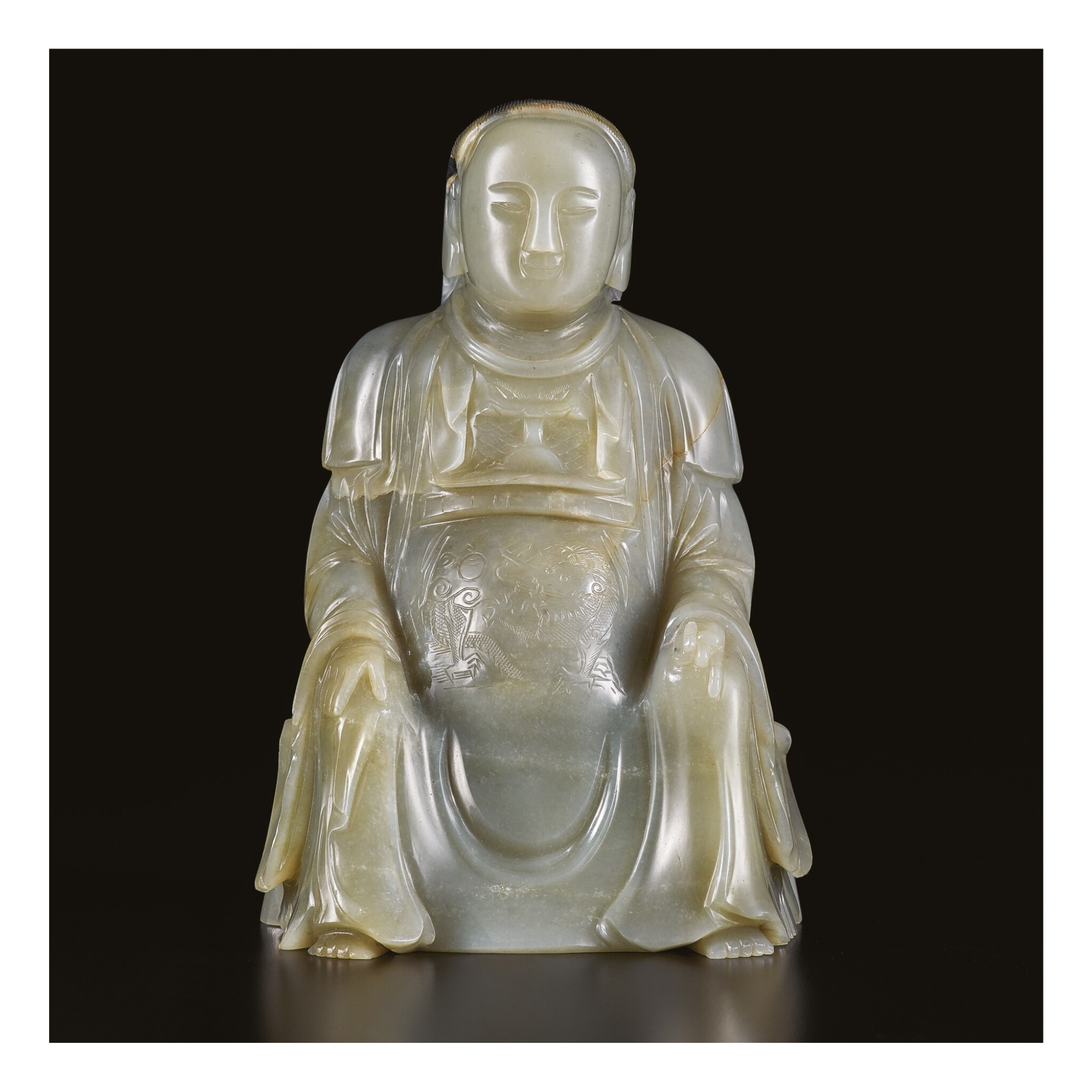 View 1 of Lot 646. AN EXTREMELY RARE CARVED GREY JADE FIGURE OF ZHENWU, MING DYNASTY, HONGZHI PERIOD, DATED TO THE EIGHTH YEAR, CORRESPONDING TO 1495.