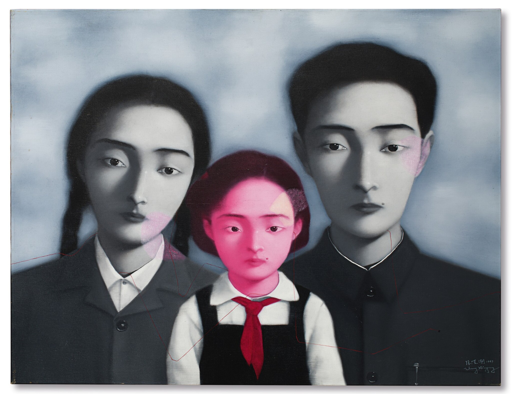 View full screen - View 1 of Lot 1120. Zhang Xiaogang 張曉剛   Bloodline - The Big Family No. 1 1997 血緣:大家庭1號 1997.