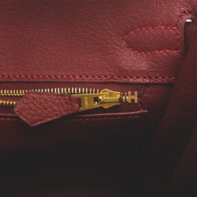 Hermès Rouge H Birkin 25cm of Togo Leather with Gold Hardware